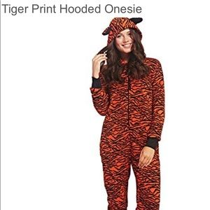 Tiger print Hooded Women's onesie Small